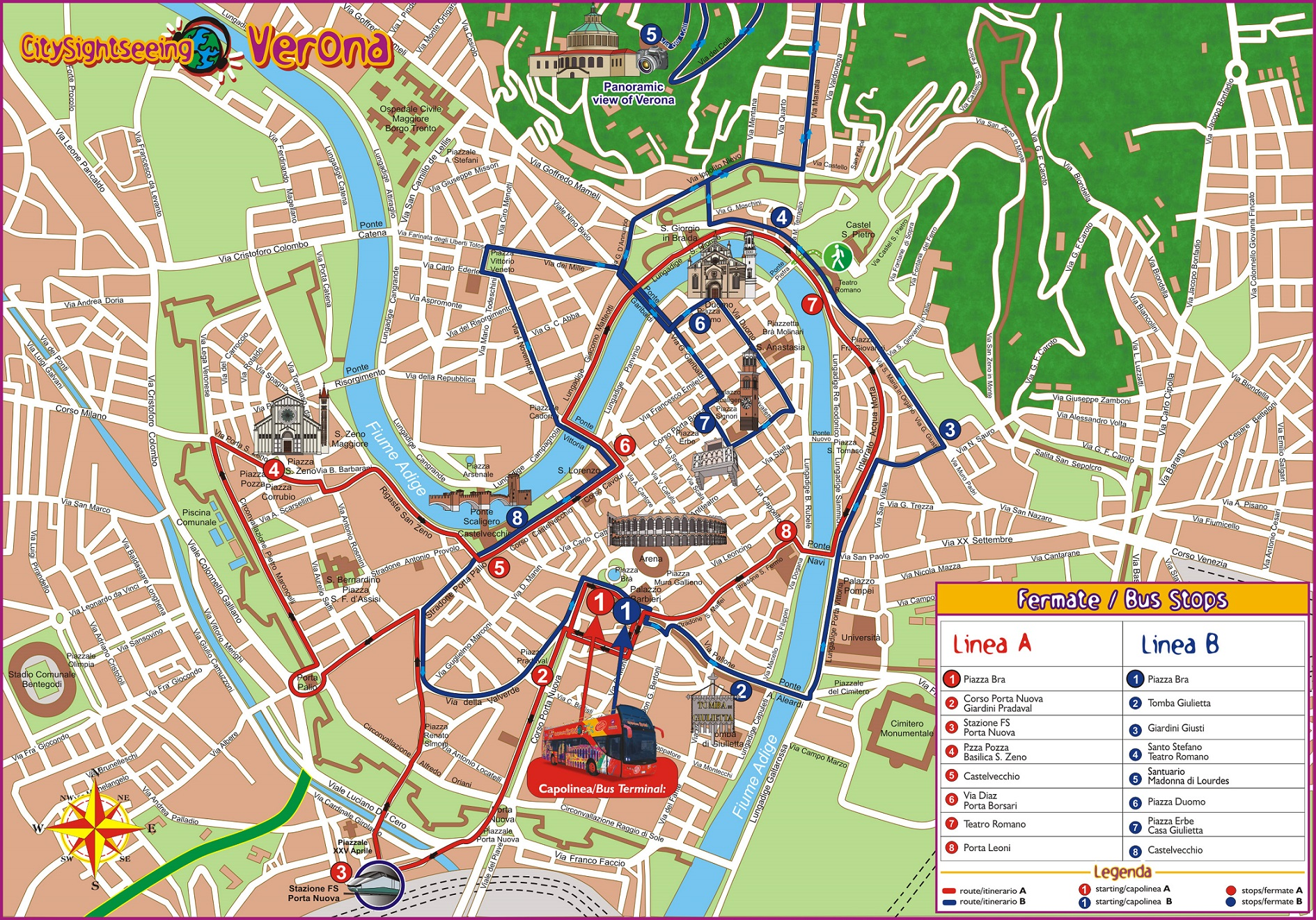 City Sightseeing Verona Italy Hop On Hop Off Bus Tours